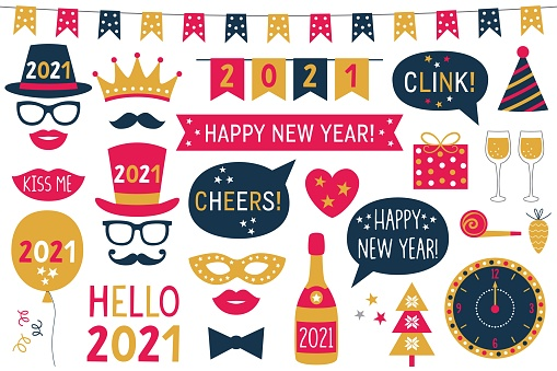 New Year 2021 vector photo booth props (hats, eyeglasses, lips, mustaches)