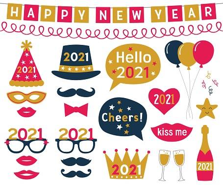 New Year 2021 vector photo booth props