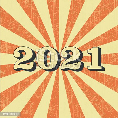 istock New Year 2021 Vintage Poster in Retro Desigh Style. 1290753321
