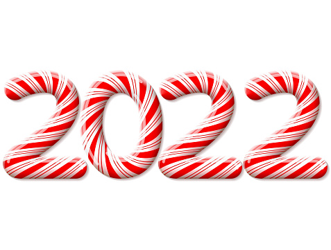 New Year 2022 in shape of candy stick isolated on white