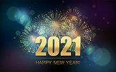 istock 2021 New Year Abstract background with fireworks 1251383954