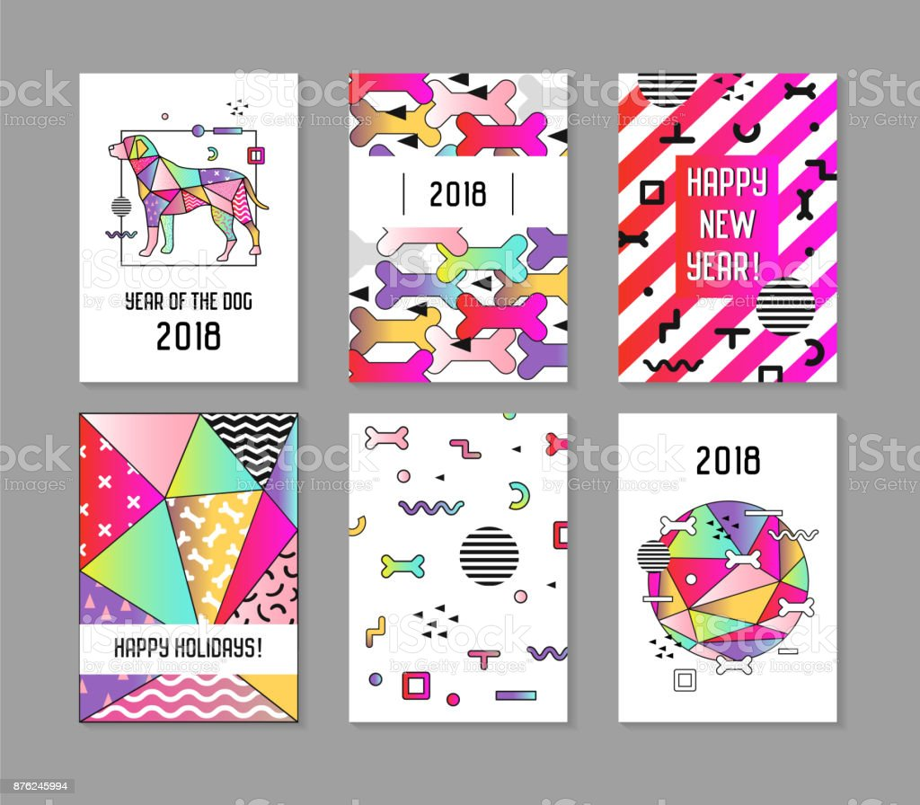 2018 new year abstract posters set with dog chinese calendar banner template