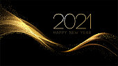 2020 New year with Abstract shiny color gold wave design element and glitter effect on dark background. For Calendar, poster design