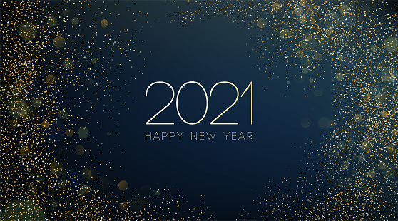 2021 New Year Abstract shiny color gold wave design element