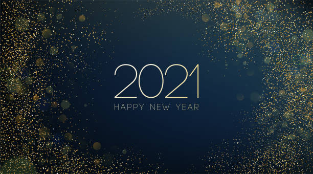 2021 New Year Abstract shiny color gold wave design element 2020 New year with Abstract shiny color gold wave design element and glitter effect on dark background. For Calendar, poster design happy new year 2021 stock illustrations