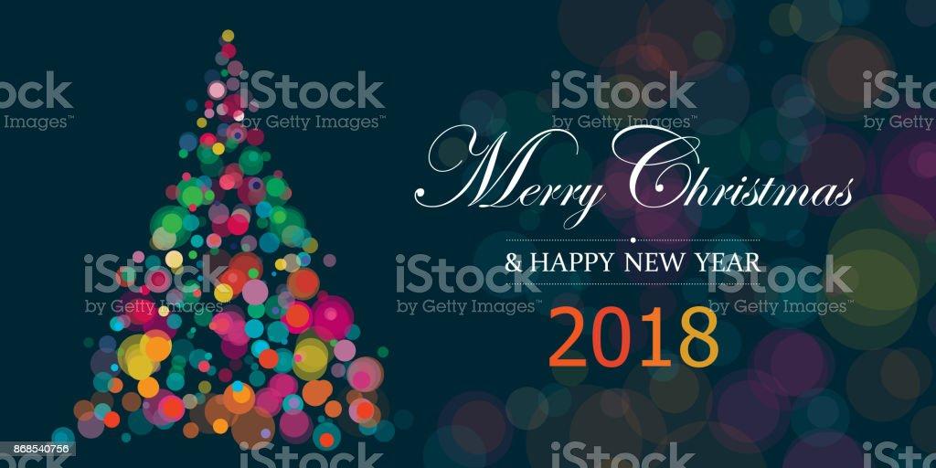 Neujahr und Weihnachten 2018 Illustration Horizontal mit Raum-Text kopieren – Vektorgrafik