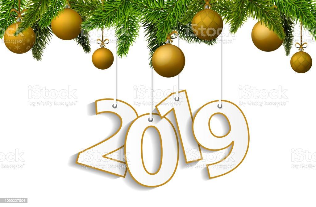 Imagenes De Navidad 2019.Ilustracion De Concepto De Ano Nuevo Y Navidad 2019 Con Oro