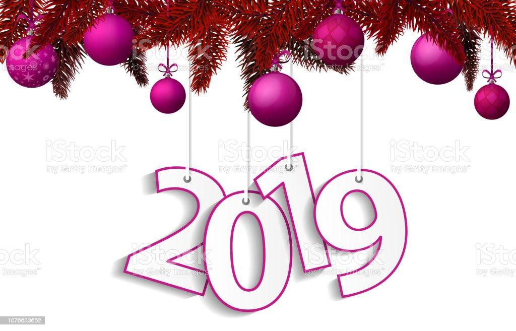 neujahr und weihnachten 2019 konzept mit rosa. Black Bedroom Furniture Sets. Home Design Ideas