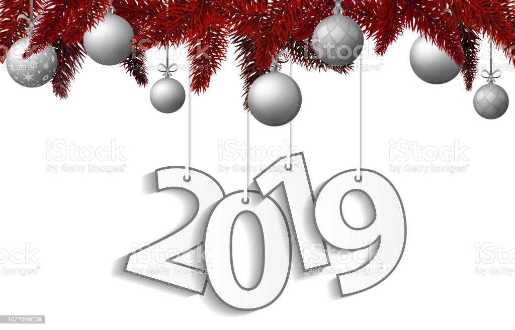 Deko Weihnachten 2019.Neujahr Und Weihnachten 2019 Konzept Mit Silber Weihnachtskugeln Und