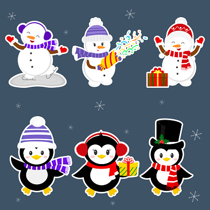 New Year and Christmas card. A set stickers of three penguins and three snowmen characters in different hats and poses in winter. Gift boxes, crackers with confetti. Cartoon style, vector