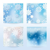 New Year and Christmas card with snowflakes of blue and gray