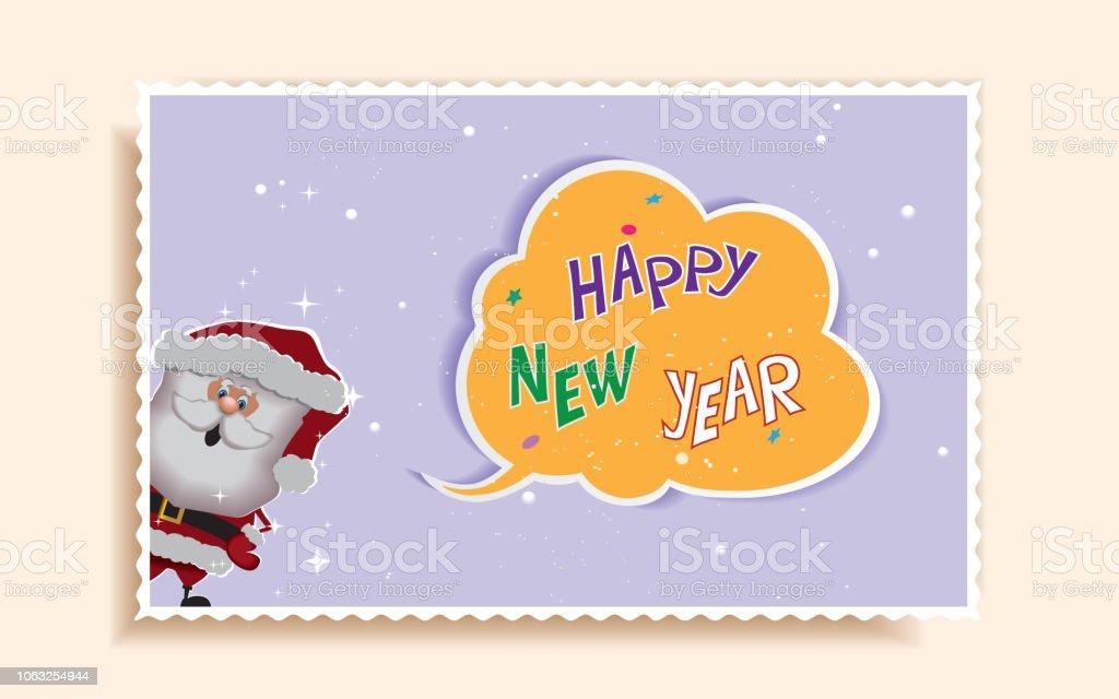 Nouvel An Et Noël Cartoon Carte De Voeux Avec Le Père Noël Et Le Texte Dans Le Nuage Carte Postale Vacances Dessiné De Main Imprimable Vecteurs Libres