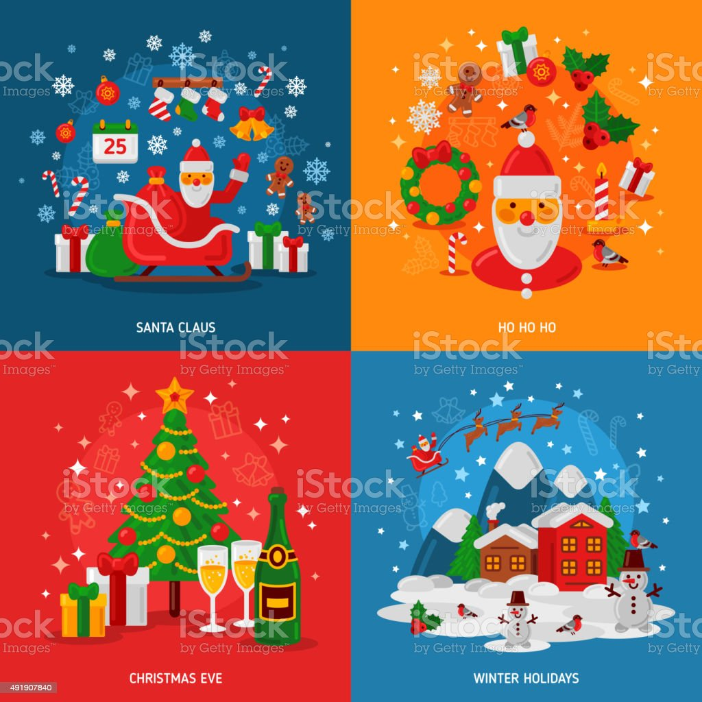 new year and christmas concepts set flat winter holiday design royalty free new - Christmas Holiday 2015