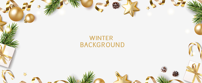 New Year and Christmas design template. Winter background with decorative golden balls and stars.