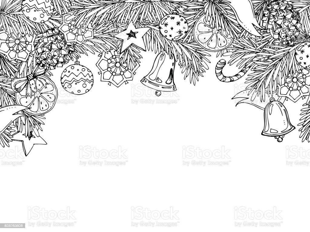 Yeni Yıl Ve Noel çerçeve Kitap Yetişkin Ve çocuklar Için Boyama Için