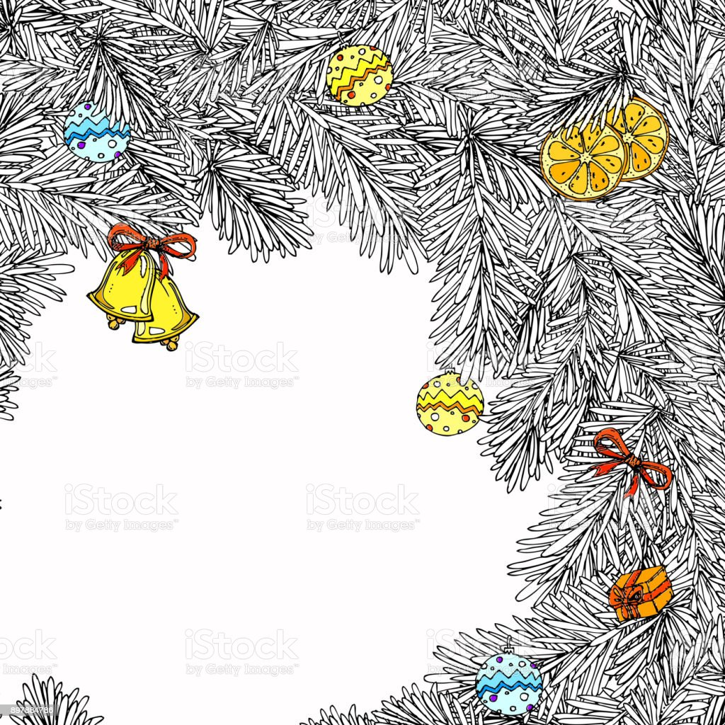Ilustración de Marco De Navidad Y Año Nuevo Para Colorear Libro Para ...