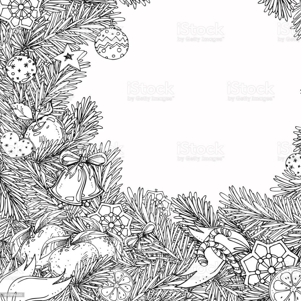 Ilustración De Marco De Navidad Y Año Nuevo Para Colorear Libro Para