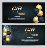 New Year and Christmas Gift Voucher Template Vector Illustration for Your Business EPS10
