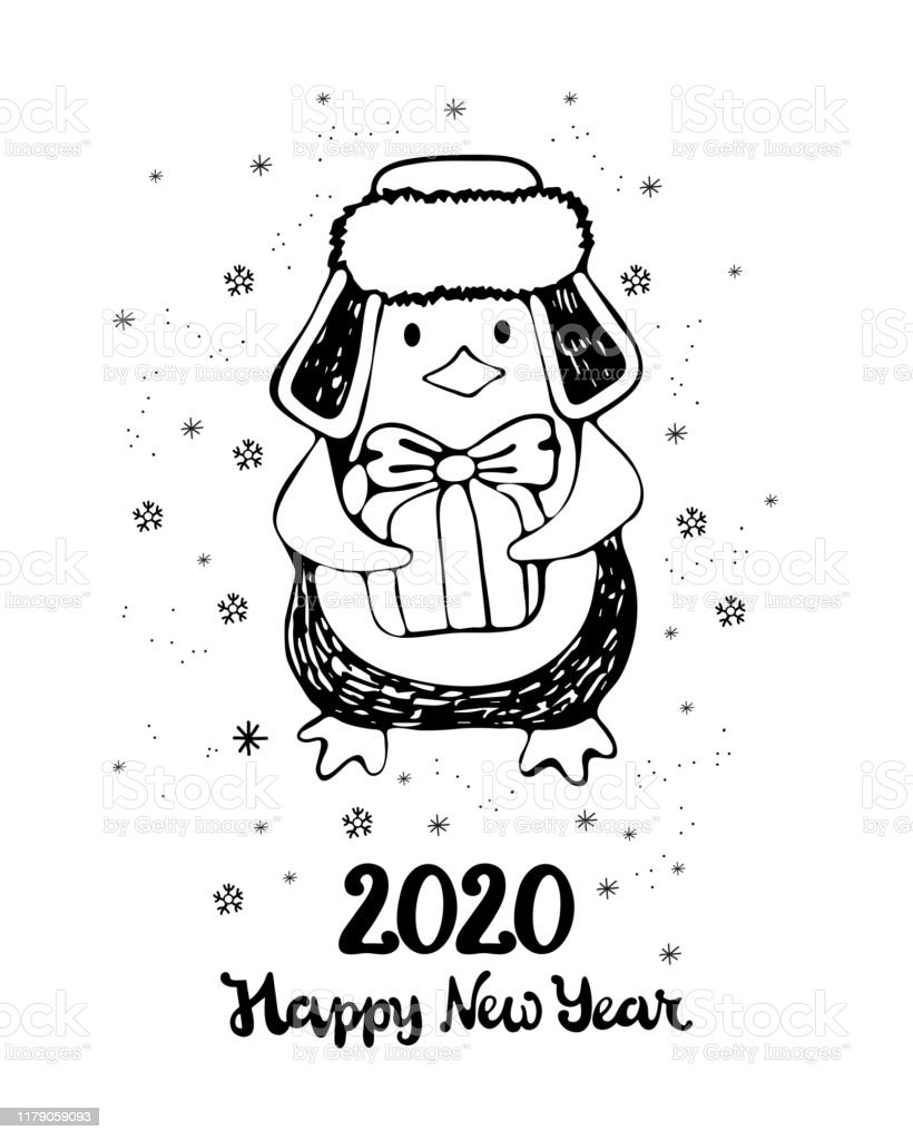 New Year And Christmas Greeting Card Cute Cartoon Penguin In
