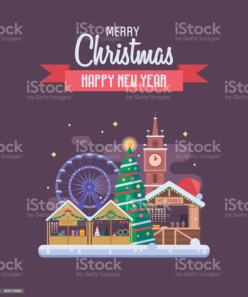 New Year And Christmas Greeting Card Stock Vector Art More Images