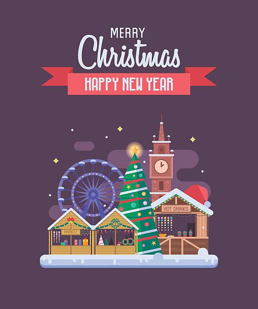 silvester und weihnachten grußkarte - weihnachtsmarkt stock-grafiken, -clipart, -cartoons und -symbole