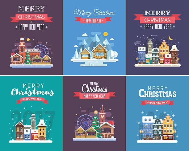 new year and christmas greeting cards - weihnachtsmarkt stock-grafiken, -clipart, -cartoons und -symbole