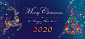 Merry Christmas and Happy New Year 2020 greetings wit text, rain deer and Christmas tree.