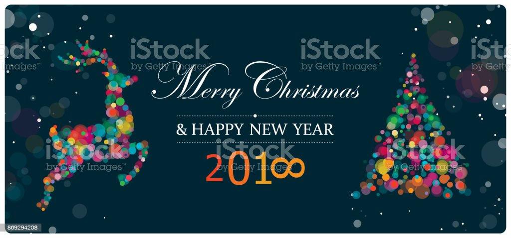 Neujahr und Weihnachten Gruß Horizontal – Vektorgrafik