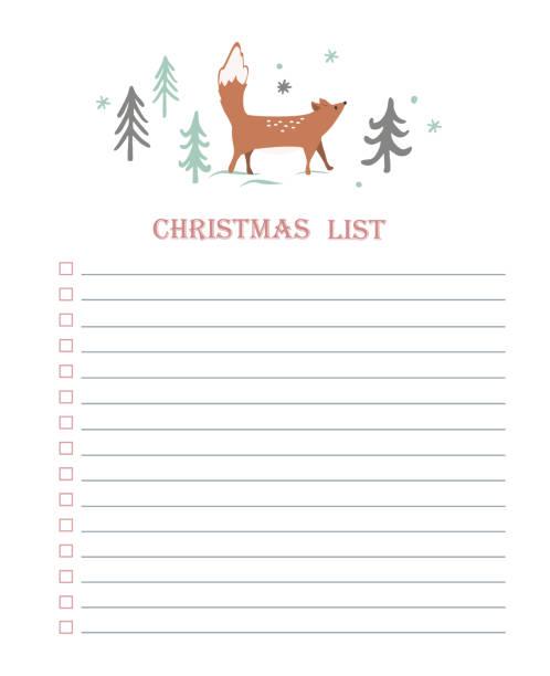 neujahr und weihnachtsfeiertage zu tun liste mit doodle bäume und niedlichen fuchs. vektor druckbare checkliste. winter-party-organisation, grußkarten, einladungen, geschenke ideen - landgastgeschenke stock-grafiken, -clipart, -cartoons und -symbole