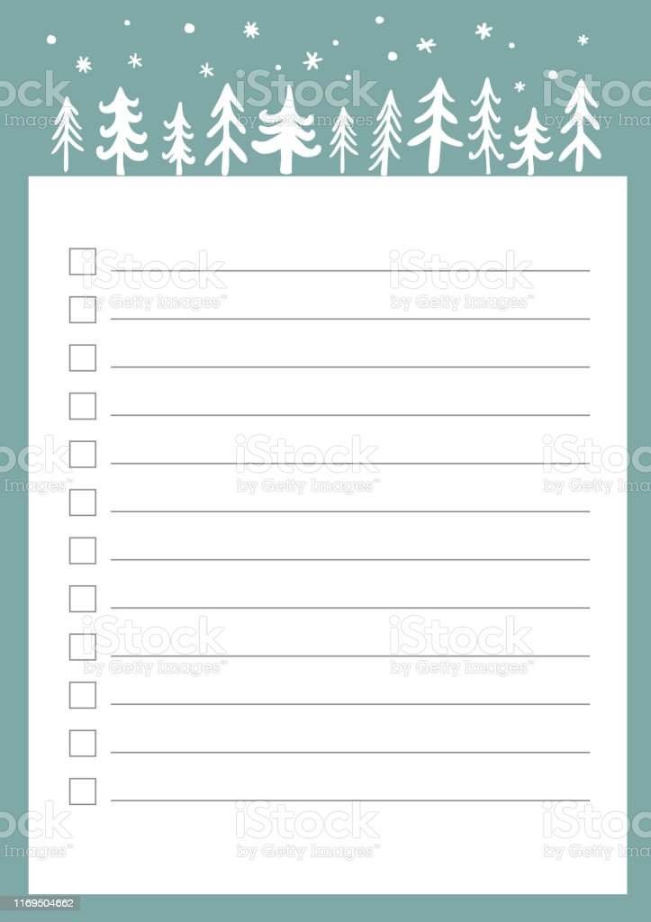 New Year and Christmas holidays to do list with doodle trees. Vector...