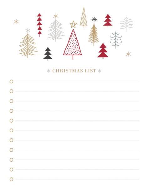 neujahr und weihnachtsfeiertage zu tun liste mit doodle-bäume. vektor druckbare checkliste. winter-party-organisation, grußkarten, einladungen, geschenke ideen stock illustration - landgastgeschenke stock-grafiken, -clipart, -cartoons und -symbole