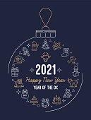 2021 New year and Christmas. Holiday postcard or banner with a Christmas toy ball with an outline icons set. Chinese year of the Ox. Vector illustration on a dark blue background.