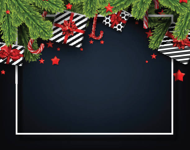 new year and christmas poster with fir branches gifts candy canes and starry confetti