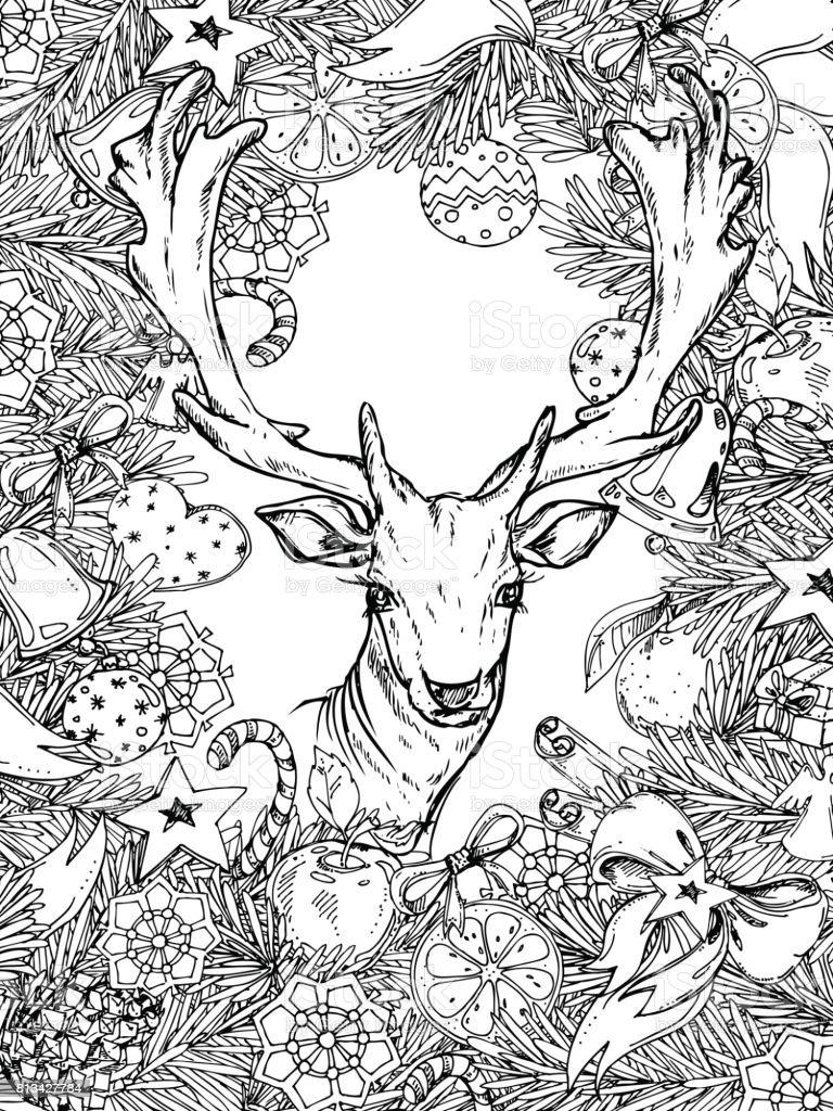 Ilustración De Marco Vertical De Navidad Y Año Nuevo Para Colorear