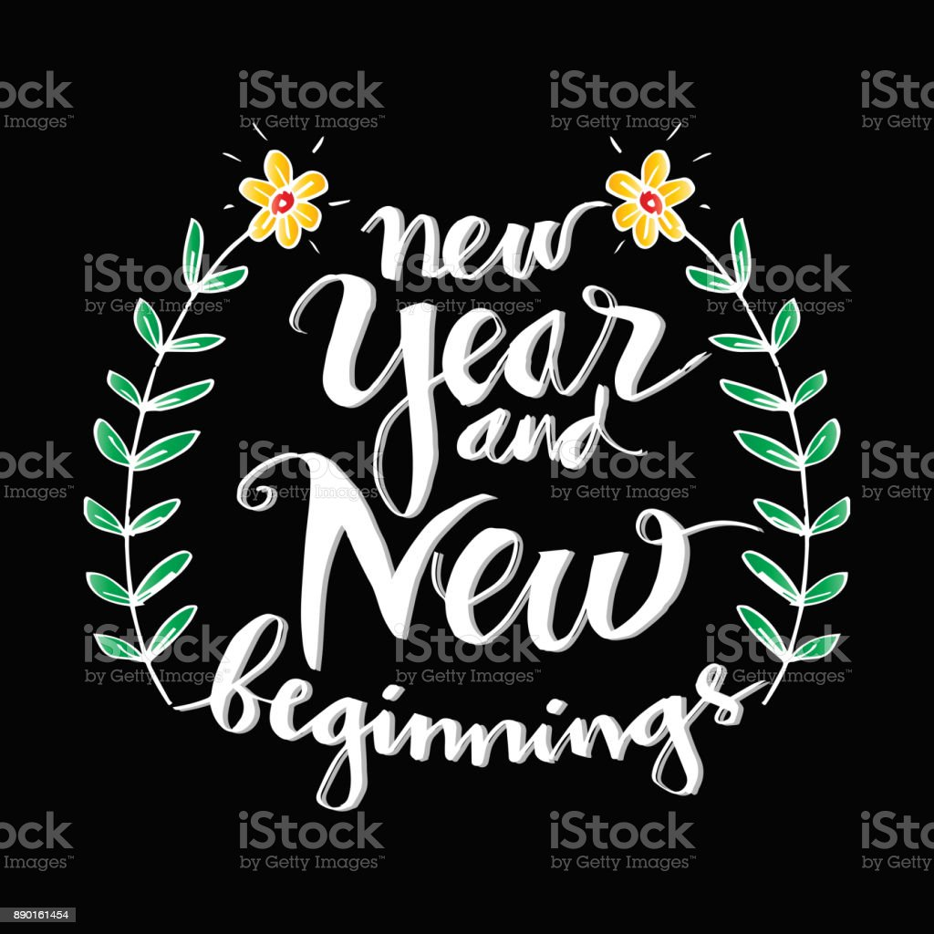 new year and new beginning motivational quote stock illustration