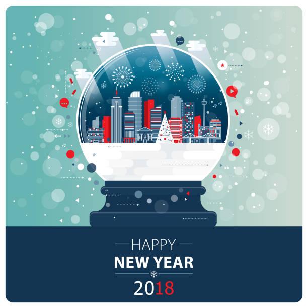 New Year And Xmas Glass Ball vector art illustration