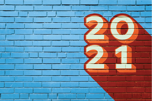 2021 New Year Background Brick Wall Copy Space Mural Art