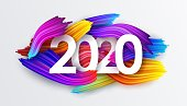 2020 New Year on the background of colorful brushstrokes of oil or acrylic paint with a gradient brush, creative New Year design element isolated on white, vector illustration EPS10