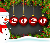 New Year Greeting with Snowman
