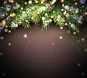 New Year background with fir branches and confetti. Vector illustration.