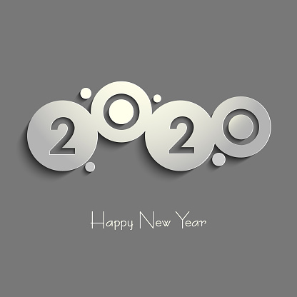 New Year background with abstract rounds gray design