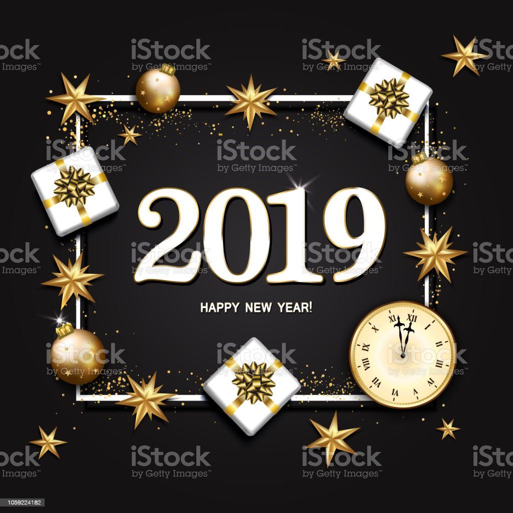 2019 new year background with clock gift box candy cane decorated gold stars