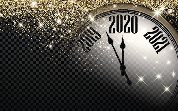 2020 Neujahr Hintergrund mit Uhr. – Vektorgrafik