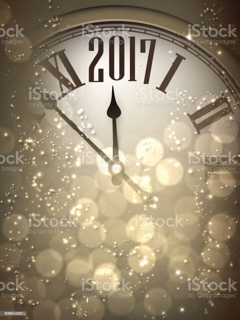 2017 New Year Background With Clock Stock Vector Art