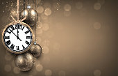 2017 New Year background with clock and silver balls. Vector illustration.