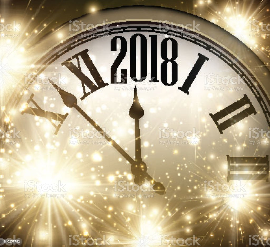 2018 new year background with clock stock vector art