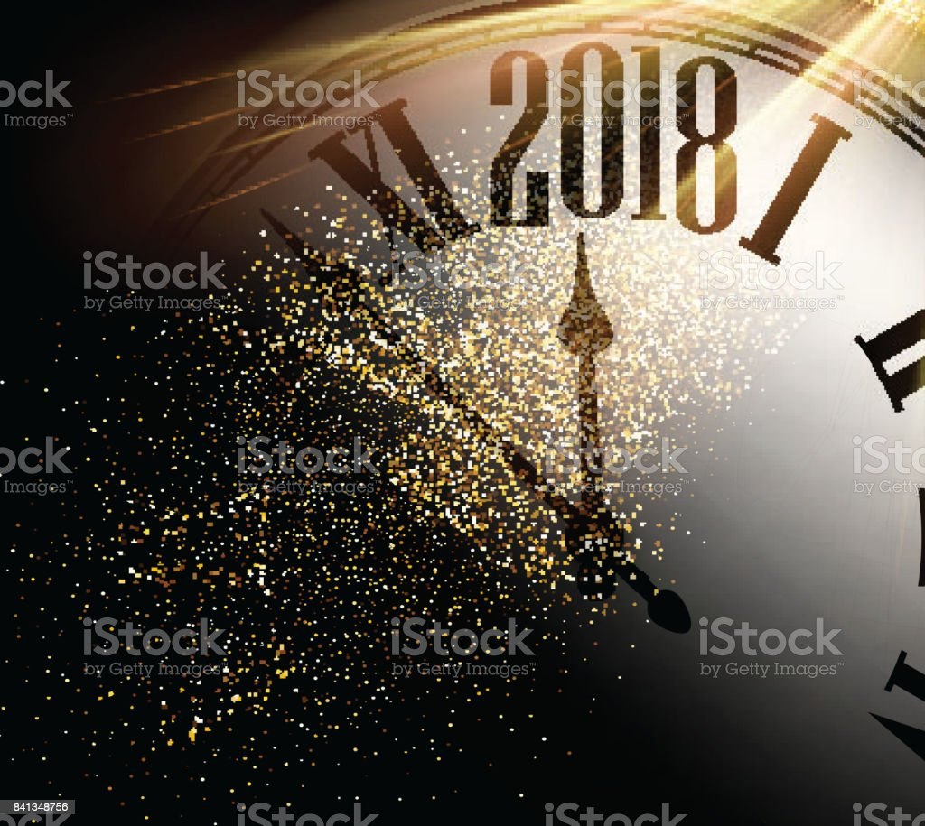 2018 New Year background with clock. vector art illustration