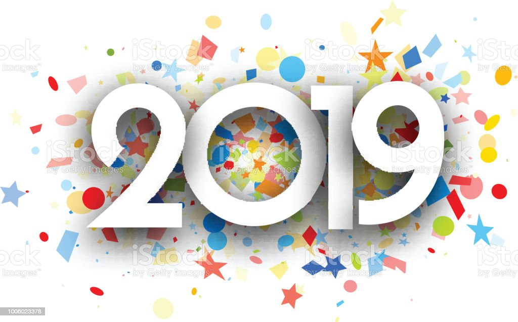 2019 new year background with colorful confetti royalty free 2019 new year background with