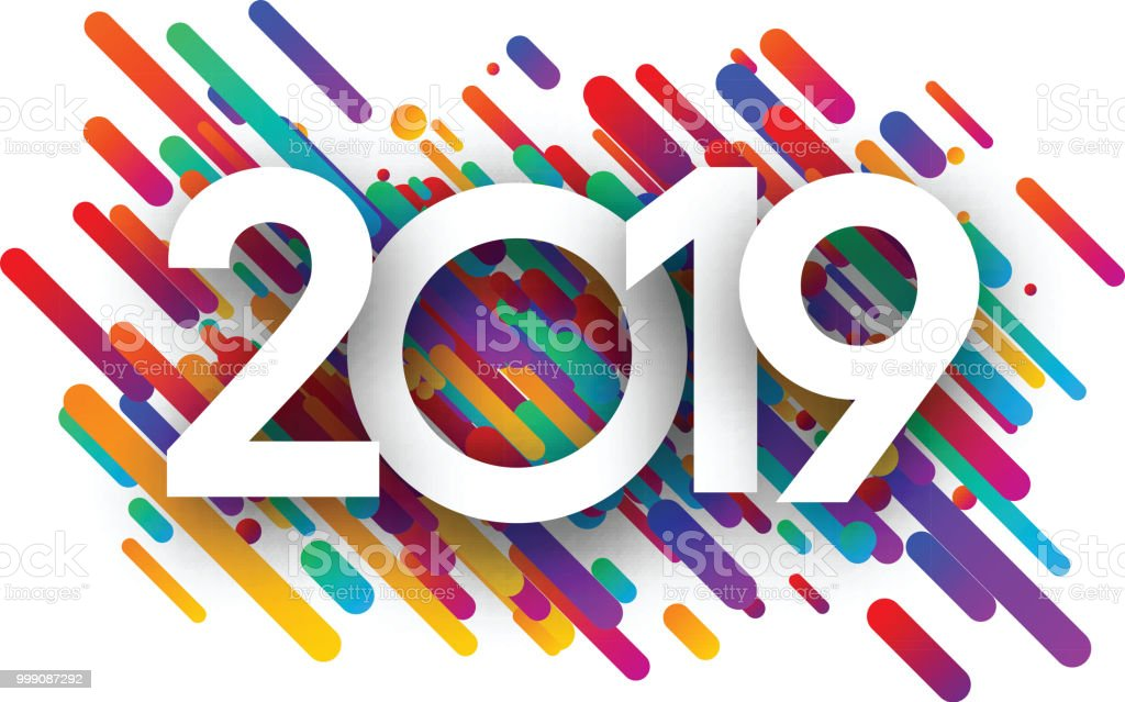 2019 new year background with colorful strokes royalty free 2019 new year background with