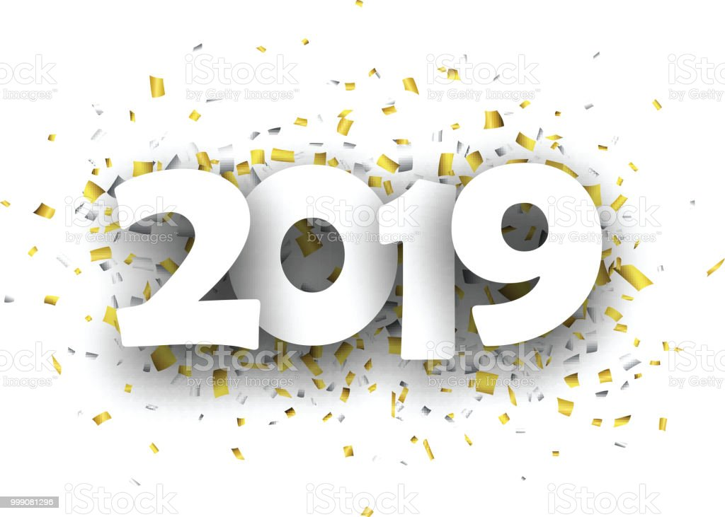 2019 new year background with gold and silver confetti royalty free 2019 new year